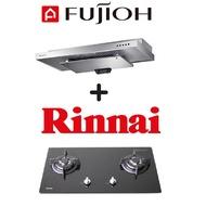 FUJIOH SLM900R SLIMLINE HOOD + RINNAI RB-7302S-GBS 2-BURNER GLASS GAS HOB