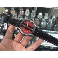 寶馬旗下 mini 手錶全瑞士製造進口.瑞士機芯.真牛皮皮帶.50m防水。40mm表面,黑紅組合,正品貨保固兩年
