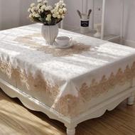 桌布歐式茶幾桌巾布藝長方形客廳現代簡約蕾絲電視櫃家用白色餐桌臺布
