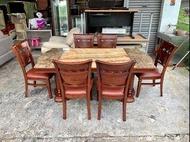 香榭二手家具*歐式胡桃實木 天然大理石餐桌椅組-餐桌六椅-吃飯桌-團圓桌-火鍋桌-石面桌-會議桌-開會桌-洽談桌-工作桌