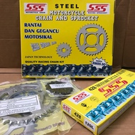 YAMAHA RXZ SSS MOTORCYCLE CHAIN & STEEL SPROCKET SET 428 X 120L/15/33T - 39T