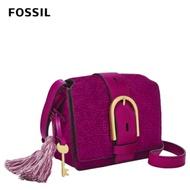 FOSSIL Wiley 紋路麂皮復古美型馬鞍包-洋紅色 ZB1329508