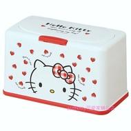 asdfkitty*KITTY大臉紅愛心硬殼面紙盒/抽取式衛生紙盒/紙巾盒/口罩收納盒-日本正版商品