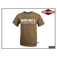 【野戰搖滾-生存遊戲】美國 TRU-SPEC 軍事風格T恤【狼棕色 MARINES】美國海軍陸戰隊短袖T恤戰術T恤迷彩服