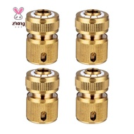 4 Pc Brass Hose Connector Hose End Quick Connect Fitting 1/2 inch