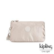 Kipling 都會時尚霧玫瑰金三夾層配件包-CREATIVITY L