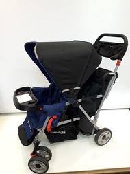【淘氣寶寶*二手出售】編號28 美國Joovy Caboose Ultralight 雙人推車/兄弟車【藍色+第二座椅】
