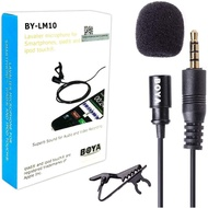 BY-LM10 Lavalier Lapel Microphone Directional Clip-on Mic for Recording, Interview, Youtube, Video, Conference, Podcast, Voice, ASMR, Dictation - Compatible with iPhone and Android Smartphone