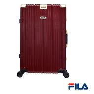 FILA 29吋經典限量款碳纖維飾紋系列鋁框行李箱-紅金
