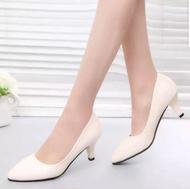 🔥พร้อมส่ง🔥 🍒รองเท้าคัชชูส้นสูง รองเท้าแฟชั่น รองเท้าส้นสูงผู้หญิง เสริมส้น 2 นิ้ว F0039