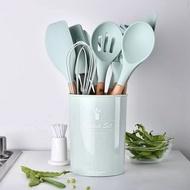 【MOZI選物】全新‧現貨‧超美湖水綠11件套組+收納桶 矽膠廚具套裝 廚房勺鏟套件 矽膠鏟 廚房烹飪工具 湯勺 勺子