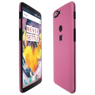 Skinomi TechSkin - Pink Carbon Fibre Skin & Screen­ Protector for OnePlus 5T