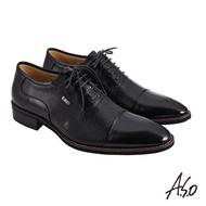 【A.S.O 阿瘦集團】職場通勤 菁英通勤異材質綁帶牛津紳士鞋(黑色)