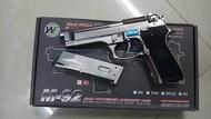 ปืนบีบีกันระบบแก๊ส WE Beretta M92 สีเงินแถมลูกกระสุน ปืนสั้นระบบแก๊ส โหมดการยิงเซมิ ผลิตจากประเทศไต้หวัน ปืนอัดแก๊สโลหะ BB Gun