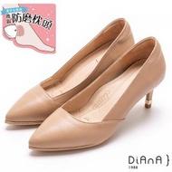 【DIANA】軟混種羊皮素面 6.5CM 超細跟知性跟鞋-漫步雲端超厚切焦糖美人(卡其)