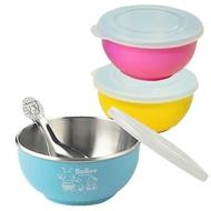 永昌寶石 香醇 兒童碗+湯匙+上蓋 304不鏽鋼 雙層隔熱碗 幼兒園碗 小蟻布比 Bubee 豆豆 0556 三色碗