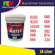 Nippon Paint Super Matex Emulsion Interior Wall Paint / Cat Kapur Air Dinding Dalam Rumah 18L - 18 Liter