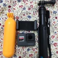 二手 GoPro hero 6 附原廠電池、自拍桿、64G記憶卡、