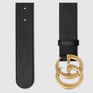 Gucci GG Buck雙G 古銅金 皮帶 寬 4Cm 黑色牛皮 現貨