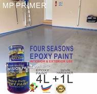 5Litre ( PRIMER EPOXY ) Paint Epoxy Floor Paint Coating ( FOUR SEASONS ) 5L (Cat Lantai Simen Epoxy)