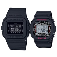 【CASIO】G-SHOCK X BABY-G 耐衝擊運動潮流雙人對錶 (DW-D5500BB-1+BGD-560SK-1)
