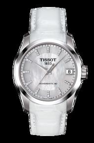 TISSOT 天梭 T0352071611600 建構師 Powermatic 80 真鑽機械女錶 珍珠貝 32mm
