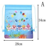 FH เด็ก Shark กระเป๋าเดินทางแบบหูรูดกระเป๋าเก็บของเป้สะพายหลังไปโรงเรียนของขวัญวันเกิดเด็ก