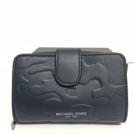 MICHAEL KORS MK 深藍色 真皮皮革 鑰匙包 零錢包附禮盒~M43538