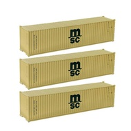 3pcs C8746 HO Scale 40' Container 1:87 40ft Shipping Container Cargo Box Freight Car Railway Layout