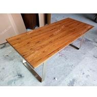 【包安装】商用純實木餐桌北美黑胡桃木LOFT鐵木桌辦公北歐原木大板會議書桌