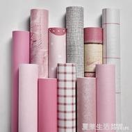 壁紙 粉色牆紙自黏臥室溫馨女孩少女心房純色防水壁紙學生家具翻新貼紙『YTL』