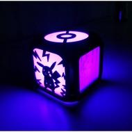 現代創意個性皮卡丘創意3D立體led小鬧鐘兒童房臥室LED小夜燈電子鐘床頭鐘大鐘面靜音時鐘壁鐘時鐘掛鐘數字鐘客廳掛鐘壁掛