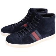 GUCCI 麂皮拼接高筒綁帶休閒鞋(深藍色)