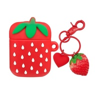 【AdpE】AirPods 一代/二代專用 草莓立體造型矽膠保護套(附造型吊飾)