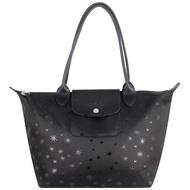 【LONGCHAMP】星星印花帆布小型長把水餃包(黑色/小)