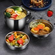 304不銹鋼碗餐具套裝泡面碗帶蓋宿舍用學生日式湯碗單個大號飯碗