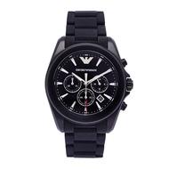 ARMANI 黑色低調個性風男性橡膠錶帶手錶(AR6092)-黑面X黑/44mm
