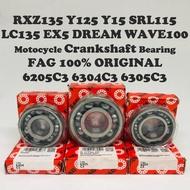 ⭐⭐⭐bearing FAG ( C3 ) Motorcycle Crankshaft Bearing RXZ Y125 Y15 SRL110 SRL115 LC135 EX5 WAVE100 100% ORIGINAL 6205C3 63