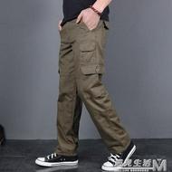 純棉休閒褲男寬鬆直筒多口袋工裝褲男長褲新款戰術褲潮