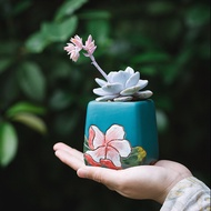 กระถางดอกไม้สำหรับปลูกไม้อวบน้ำกระถางต้นไม้เซรามิค Succulent Retro Retro Xiaolaozhuang พืชอวบน้ำหม้อ
