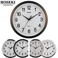 "HOSEKI 12"" Series H-9418 Round Quartz Wall Clock Silent Non-Ticking 3D Large Number Easy To Read Battery Operated"