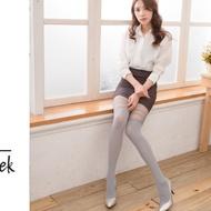 Sneakpeek-拼接假高筒性感顯瘦褲襪絲襪 (條紋款 淺灰色)