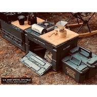 【中大戶外】 CampingBar 日本🇯🇵夯物 軍風 折疊側開收納箱 居家收納 側開收納箱 折疊收納箱 露營收納箱