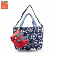 [Mis Zapatos Japan Best seller] B-6671 2in1 Denim Handle 2WAY totebag with removable mini pouch