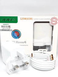 100% Original Oppo 65w Reno Charger Oppo Super VOOC Flash Charger With Type-C Cable