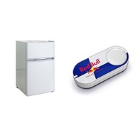 RCA-Igloo 3.2 Cubic Foot 2 Door Fridge and Freezer, White & Red Bull Dash Button