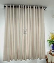 ผ้าม่านสำเร็จรูปกันแสงกันUV แบบตาไก่เจาะห่วง หน้าต่าง ประตู สีเทาขาว- ครีมขาว- ครีมไข่ไก่- สีน้ำตาล -สีทอง ติดตั้งได้เอง
