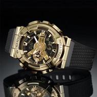 【CASIO 卡西歐】G-SHOCK 重金屬工業風雙顯錶-黑金(GM-110G-1A9)