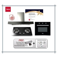 Teka Hood DHW 90 TO (1800m3/h) + Hob G78 2G AI AL TR + Built In Oven TL 615B (8 Cooking Functions) with Free Gift