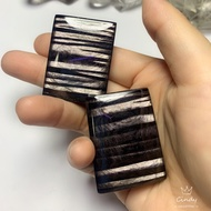 天然黑銀線石吊墜 千層黑銀線 方形無事牌
